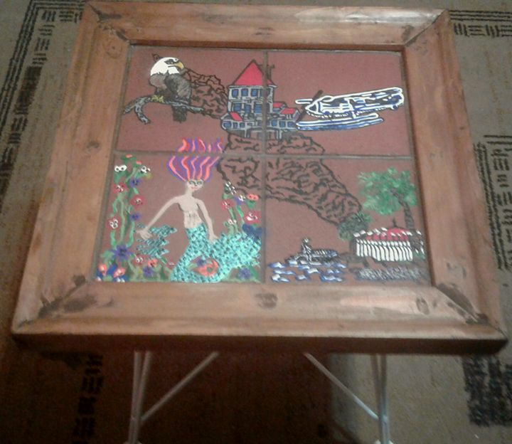 HANDPAINTED TERRA COTTA TILE TABLE9 - Islandtreasures247