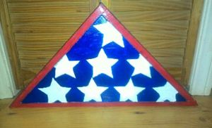 ACRYLIC PAINTED WOOD TRIANGLE FLAG