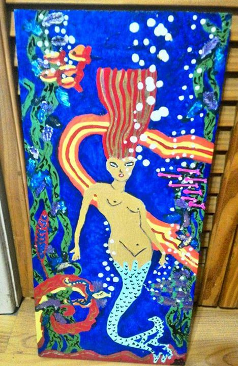 """CATALINA MERMAID"" Painting On Wood - Islandtreasures247"