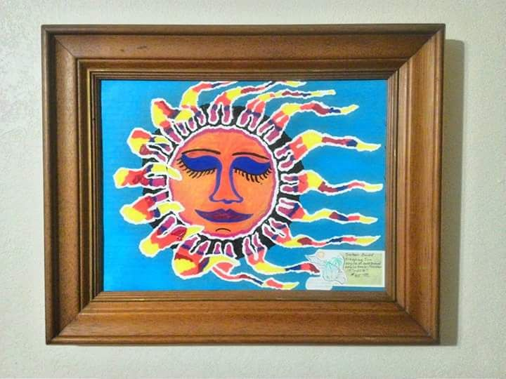 """THE SLEEPING SUN"" Upcyled Painting - Islandtreasures247"