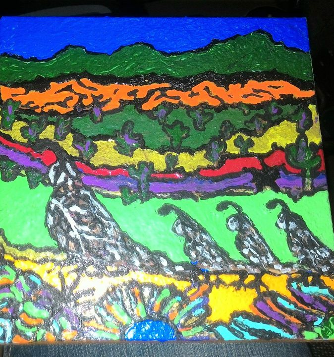 """THE QUAIL WALK"" 6""X6"" Painted Tile - Islandtreasures247"
