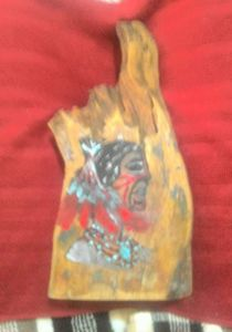 HAND PAINTED INDIAN ON EUCALYPTUS WD