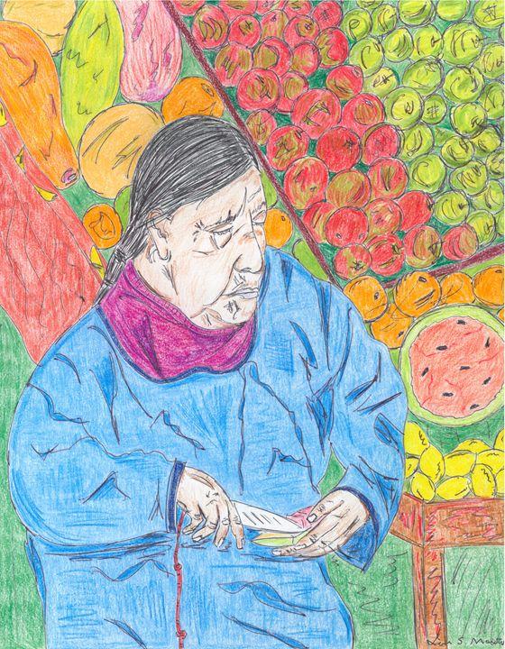 Woman selling fruit - Leon Maiolo Art