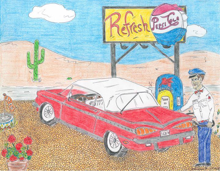 Desert gas station. - Leon Maiolo Art