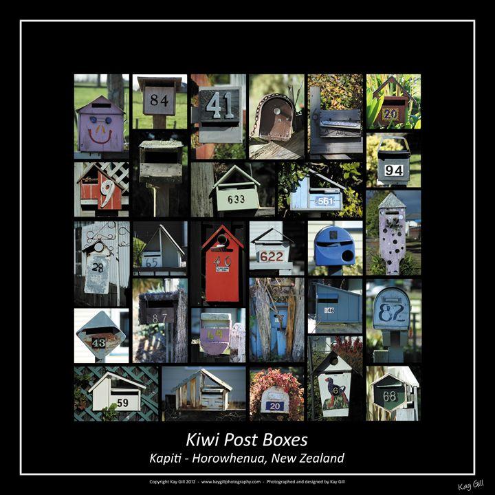 Kiwi Post Boxes - square - Kay Gill