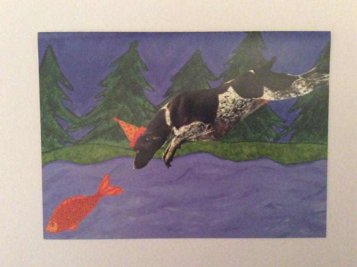 Fishing Dog - Marcia's Sad Horse Gallery