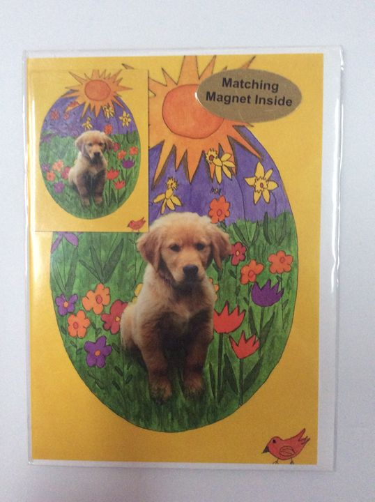 Playful Pup with matching magnet - Marcia's Sad Horse Gallery