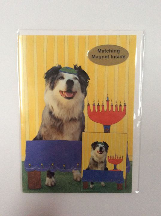 Dog's Hanukkah with matching magnet - Marcia's Sad Horse Gallery