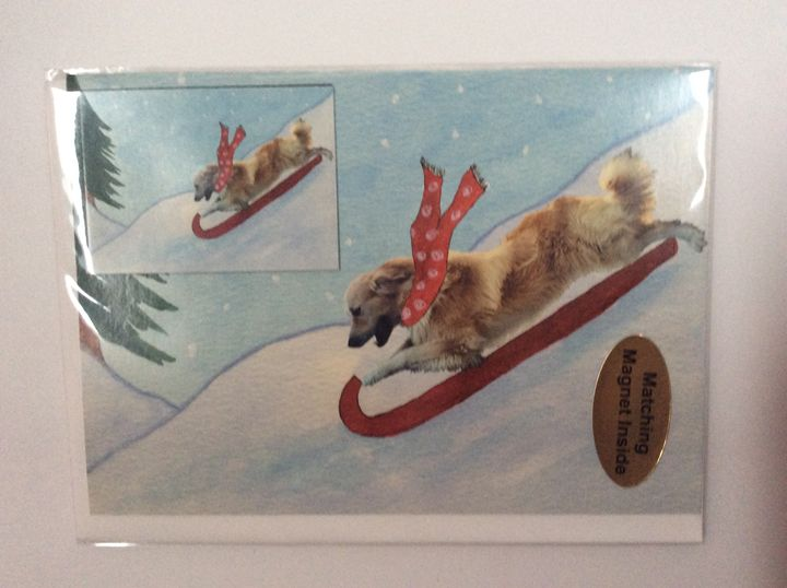 Doggie Snow Day with matching magnet - Marcia's Sad Horse Gallery