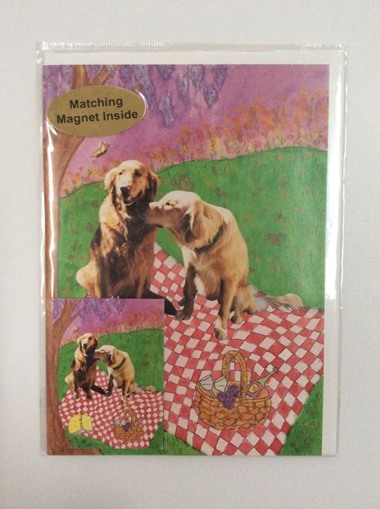 Dog's Picnic with matching magnet - Marcia's Sad Horse Gallery