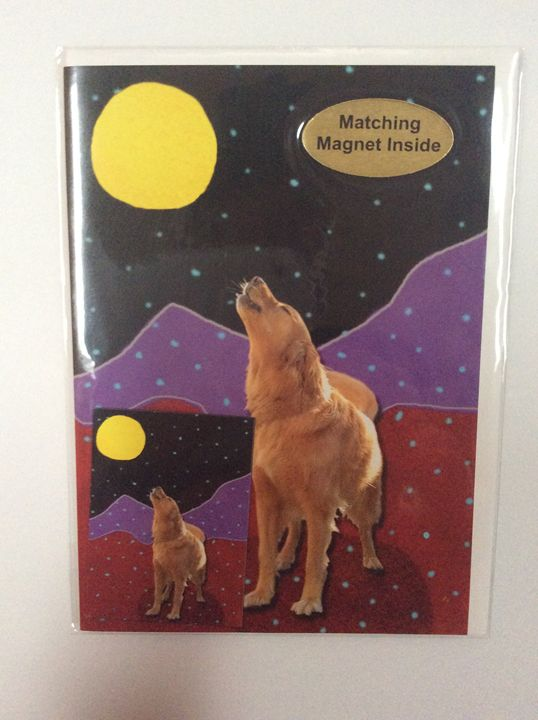 Barking Moon with matching magnet - Marcia's Sad Horse Gallery