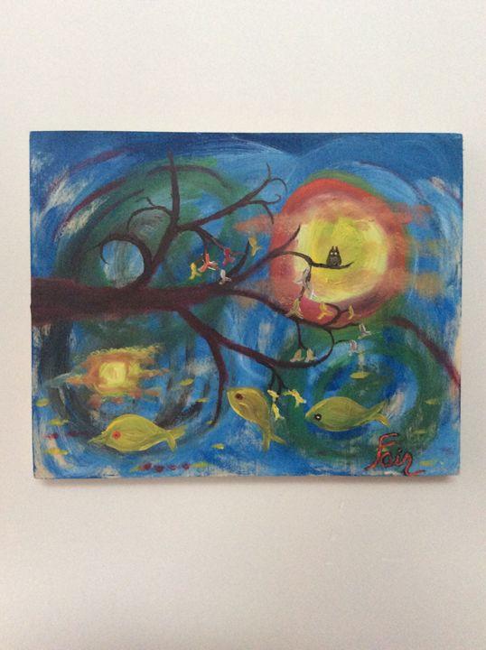 Fishing tree - Marcia's Sad Horse Gallery