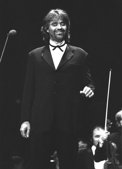 Singer Andrea Bocelli BW Photo - Front Row Photographs