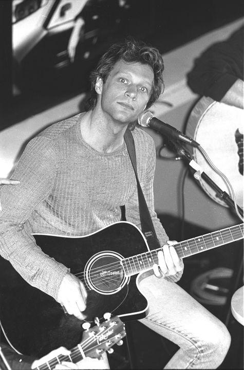 Musician Jon Bon Jovi BW Photo - Front Row Photographs