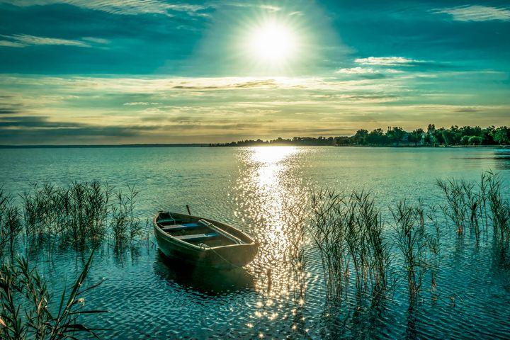 Lonely Boat on Lake - Anita Vincze