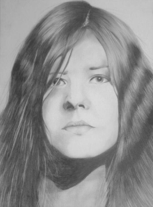 Janis Joplin, graphite - IvanaArt