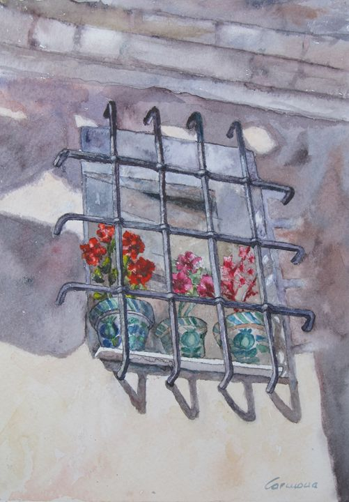 Window and Flowers Watercolor - Paco Carmona