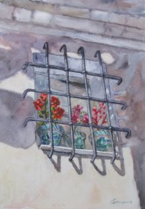 Window and Flowers Watercolor
