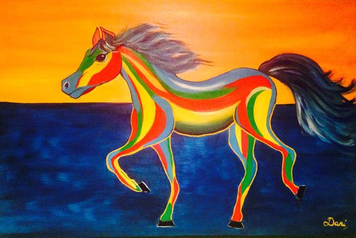 Original Wild Horse Acrylic Painting - DaniMaxiFineArt