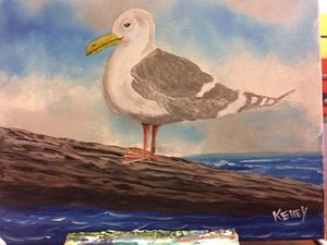 11X14 Acrylic painting of a Seagull