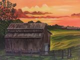 16X20 Acrylic painting farm shed