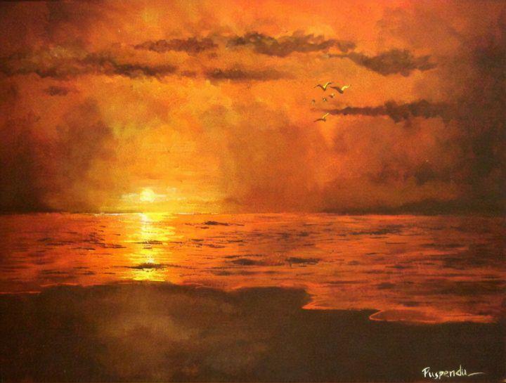 Sunset on Sea - Puspendu Roy Karmakar