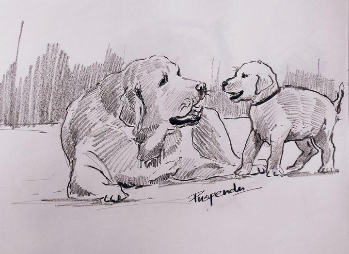 Dog and puppy - Puspendu Roy Karmakar