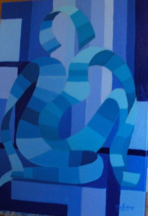 woman sitting in blue - lefresne michel