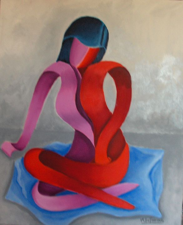 very wise and girl sitting - lefresne michel