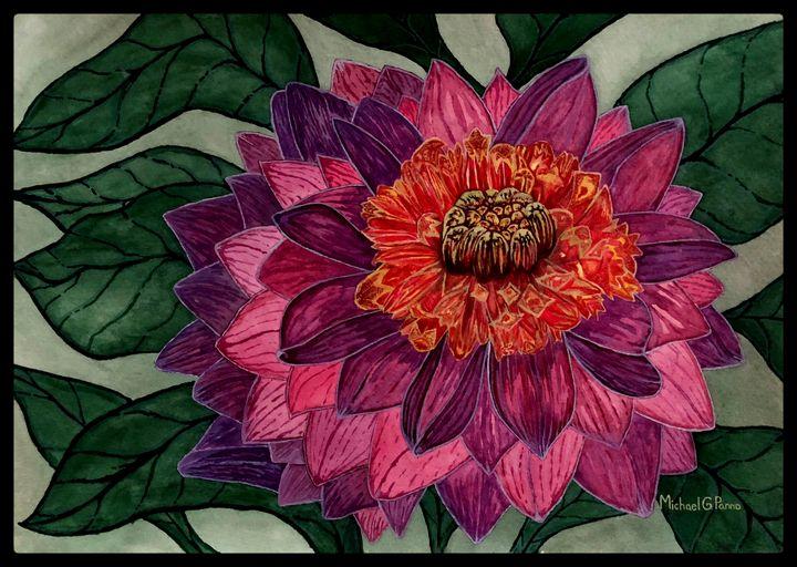 Purple Dahlia Flower W/ Border - Michael Panno
