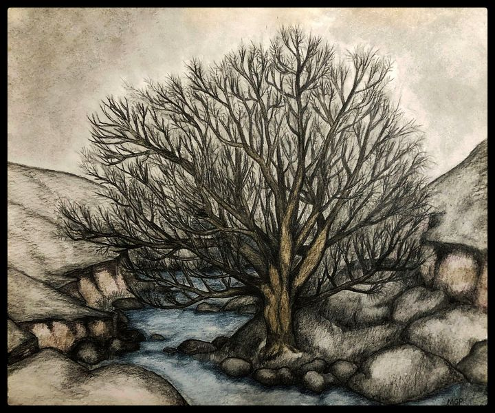 Willow By The Stream W/ Border - Michael Panno