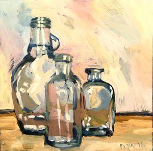 Three Little Bottles - Oil Painting