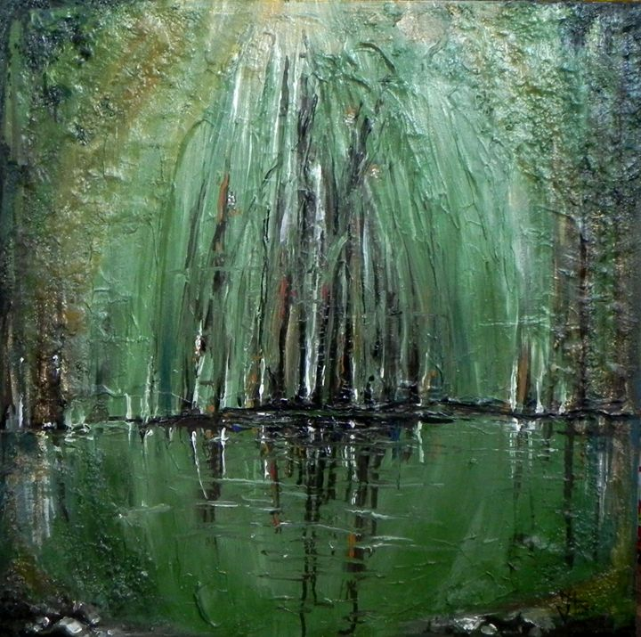 Spring reflection - Paintings