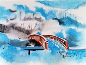 winter landscape of wood bridge