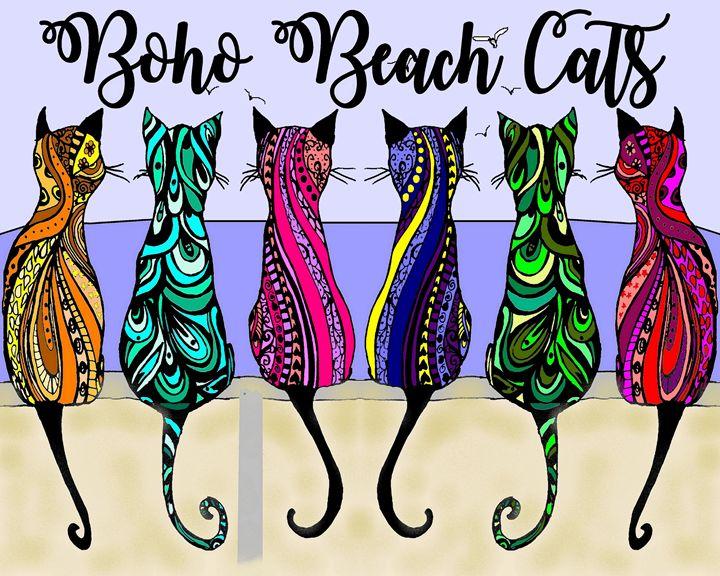 Boho Beach Cats - Gypsea Art & Designs