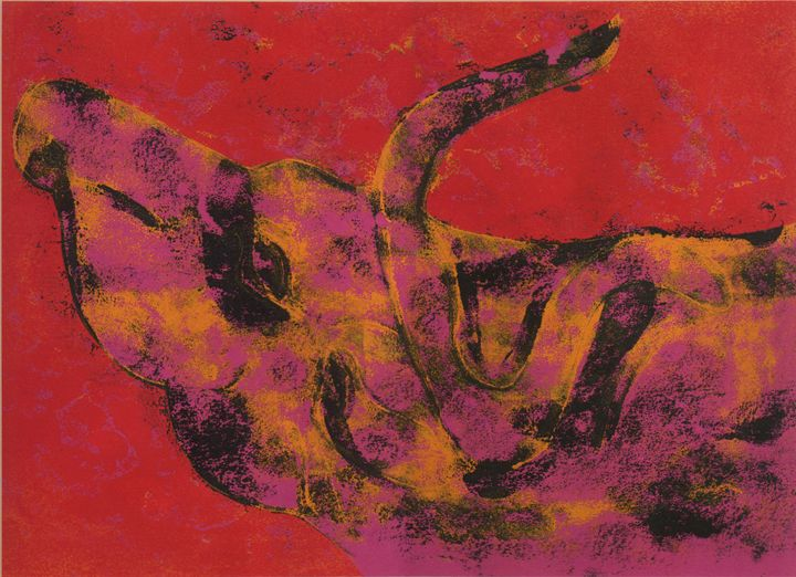 Bull in pink and yellow - Eva Koudela's Art