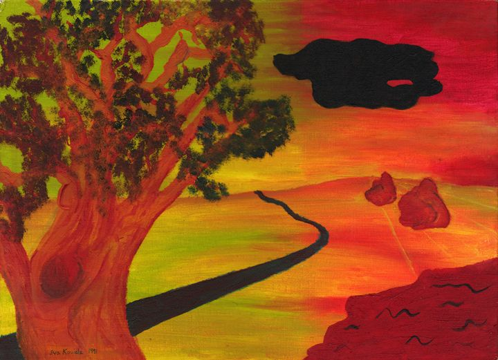 Tree with Black Cloud - Eva Koudela's Art