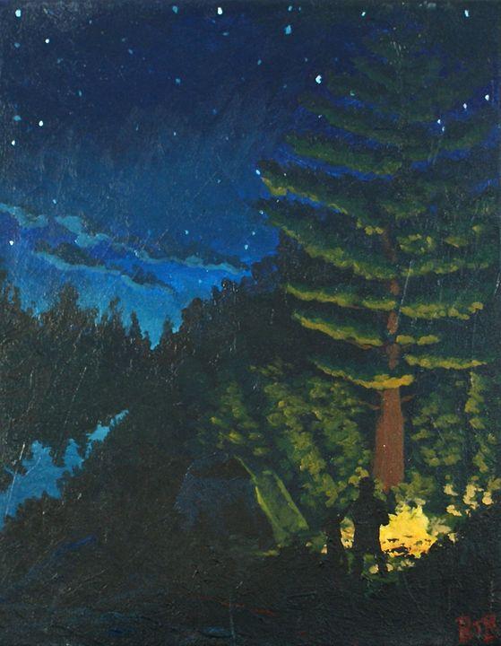 Campfire Beneath the Pines - Brett Paints