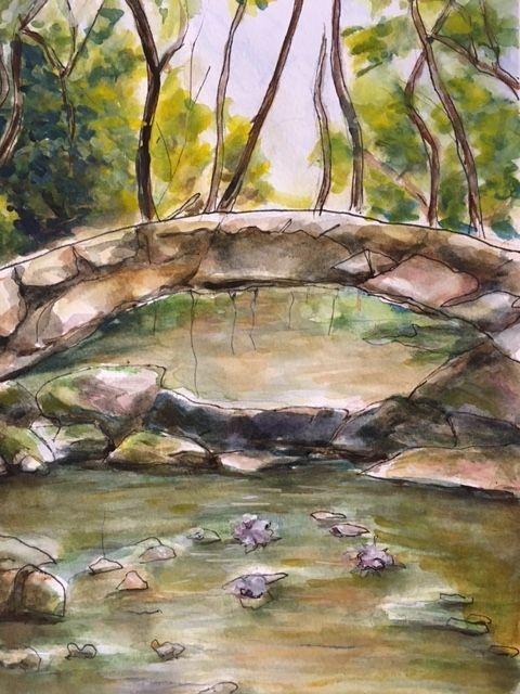 A Stone Bridge, watercolor/pen - Winnifred Liang