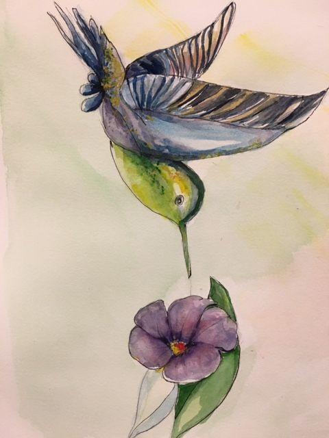 Bird and Flower, watercolor/pen - Winnifred Liang