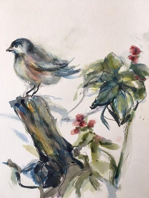 A Bird Painting, watercolor/pen - Winnifred Liang