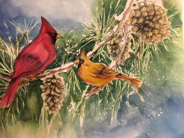 The Cardinals, watercolor/ink, 11X14 - Winnifred Liang