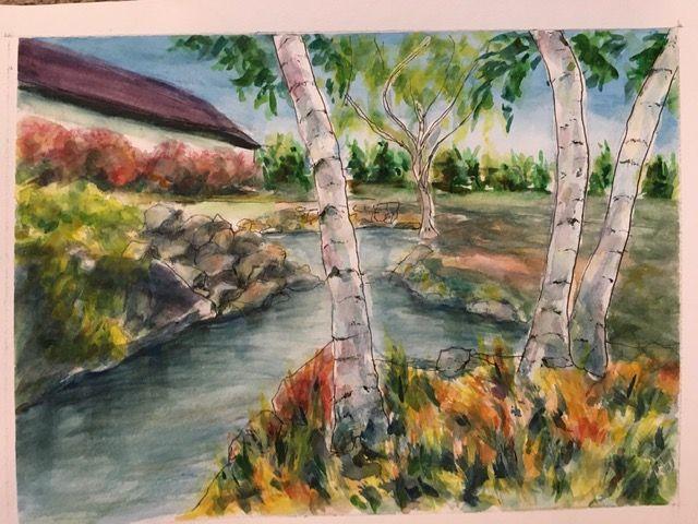 Quaking Aspen overlooking a pond, - Winnifred Liang