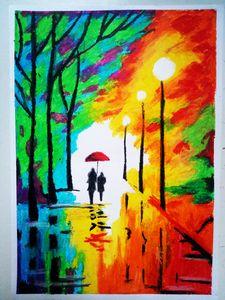 Couples on Rainy Street