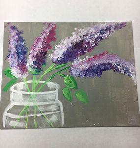 mason jar with lilacs