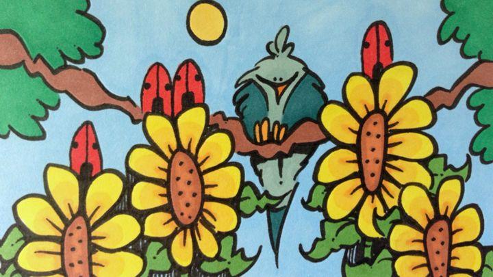 Sunflowers,Ladybugs and Bluebird - ❤️Harper