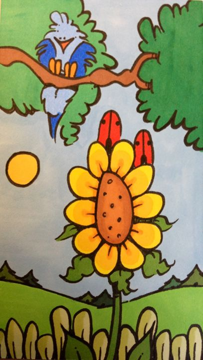 Bird and sunflower - ❤️Harper