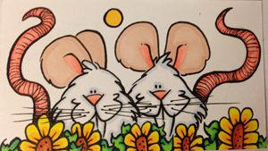 Mice sitting in sunflowers