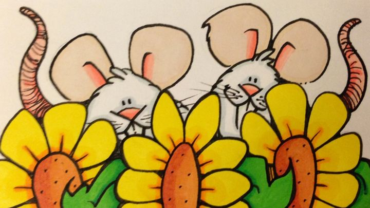 Mice and sunflowers - ❤️Harper