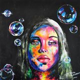 Unknown girl and soap bubbles